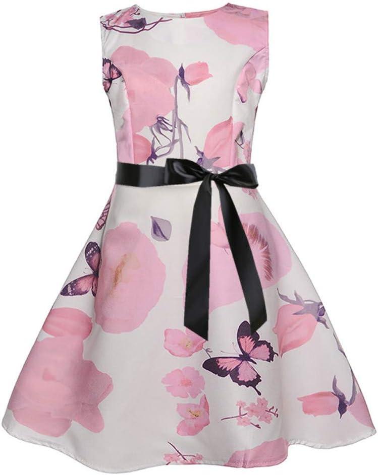 Vestido para niños para niñas, vestido sin mangas con estampado floral y estampado floral de princesa para niñas Blanco 9-10 años, falda de vestir para niñas