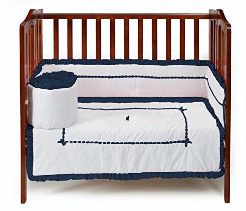 Baby Doll Bedding Unique Mini Cirb/ Port-a-Crib Bedding Set, Navy by BabyDoll Bedding   B00O64RL6C