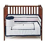 BbayDoll Unique Port-A-Crib Bedding Set, Navy