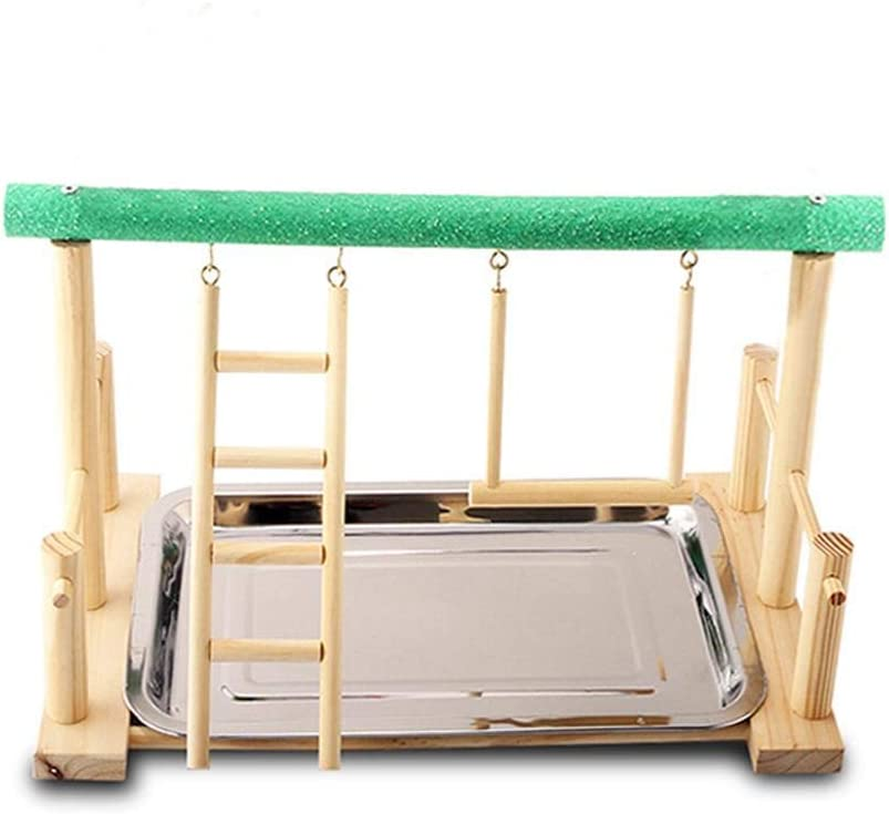 Bird Playground Stand, Wooden Parrot Play Perch with Feeder Cups, Perch Gym Playpen Ladder, Providing Habitat Areas for White Java Sparrow, Budgie, Lovebird, Cockatiel, Sun Parakeet, Crested Myna