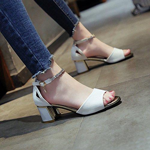 Verano Pink de Temperamento de YMFIE Metal Dama Botones Zapatos Verano Moda Zapatos y Hueco Rugoso Simples Toe tacón fqAZRTwq