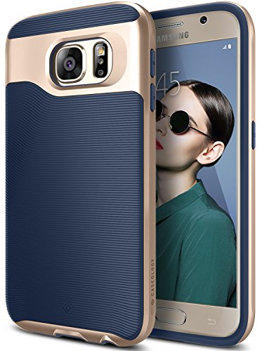 Galaxy S6 Case, Caseology [Wavelength Series] Slim Dual Layer Protective Textured Grip Corner Cushion Design for Samsung Galaxy S6 - Navy Blue by Caseology
