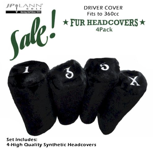 Fur Golf Club Headcovers – Black – 4 Pack – Barrel Style *Fits Up to 360cc*, Outdoor Stuffs
