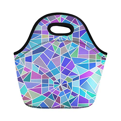 Semtomn Lunch Tote Bag Blue Pattern Broken Stained Glass Window Colorful Abstract Asymmetric Reusable Neoprene Insulated Thermal Outdoor Picnic Lunchbox for Men Women