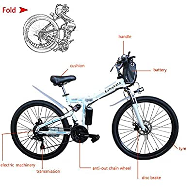 "CLIENSY 26"" Electric Mountain Bike, Shimano 21 Speed Folding Electric Bike with Removable 36V Large Capacity Lithium Battery and 350W Powerful Motor (US Stock)"
