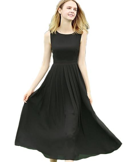 KA Beauty Women Scoop Sleeveless A Line Prom Dresses Black S