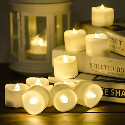 SoulBay Flameless Tea Lights with Timer, 12 Pcs LED Flickering Battery Operated Votive Candles, 6 Hours on and 18 Hours Off, for Easter Party Wedding Halloween Christmas Décor Decoration ()