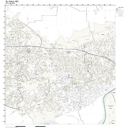 St Charles Mo Zip Code Map.Amazon Com Zip Code Wall Map Of St Peters Mo Zip Code Map