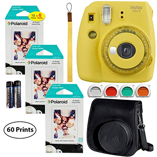 Fujifilm Instax Mini 9 Instant Camera (Yellow with Clear Accents), 3X Twin Pack Instant Film (60 Sheets), and Instax Groovy Case Bundle