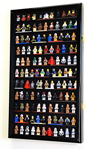 sfDisplay.com,LLC. 120+ Lego Men/Legos/Mini Figures Minifigures/Display Case Cabinet with 98% UV Protection (Black Finish)