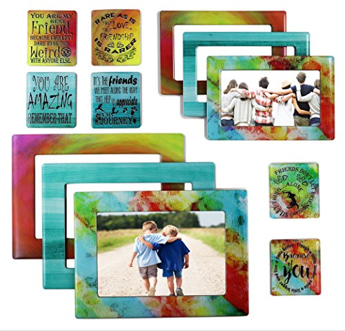Sheen Friendship Gift 12 Piece Magnetic Picture Frames and Refrigerator Magnets with Inspirational Quotes Photo Collage - Friend Gift - Gift for Best Friend ()
