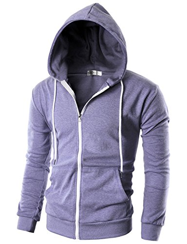 OHOO Mens Slim Fit Long Sleeve Lightweight Zip-up Hoodie with Kanga Pocket/DCF002-LAVENDER-3XL