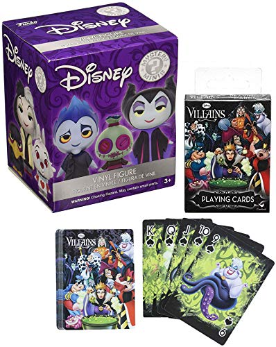 Funko Evil Mystery Villains Figure Minis Collection Disney 3D Blind Box Series +Bundled with Playing Card Deck Featuring Ursula / Cruella & Maleficent Characters Vile 2 Items