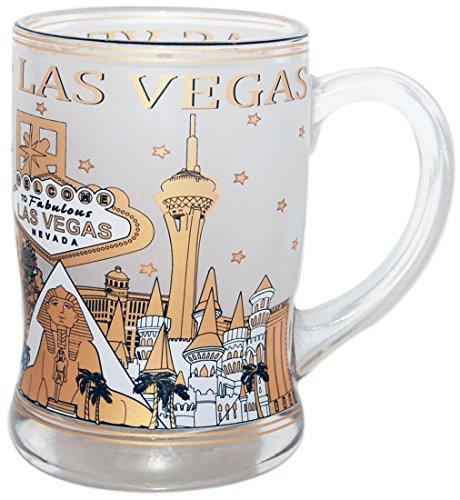 Beer Mug of The Las Vegas Skyline in Vintage Gold Design