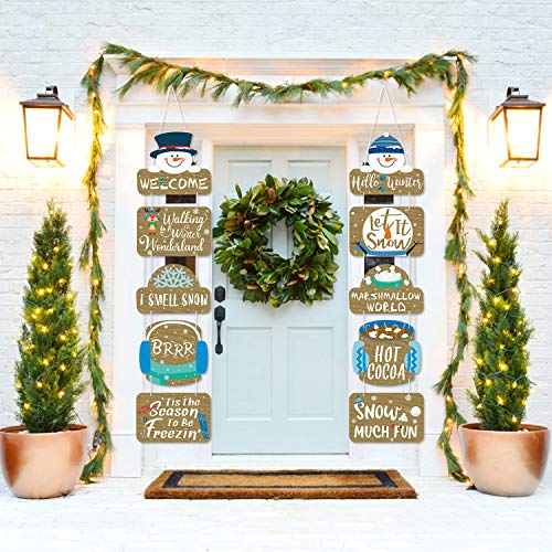 Snowman Welcome Porch Banner, Winter Wonderland Sign Cutouts Banner For Christmas Winter Frozen Themed Door Signs Wall Decorations Party Supplies