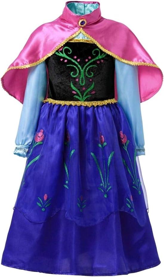 Disfraz de Anna frozen - niña - color azul - halloween - carnaval - capa rosa - talla 110-3/4 años - idea de regalo original frozen