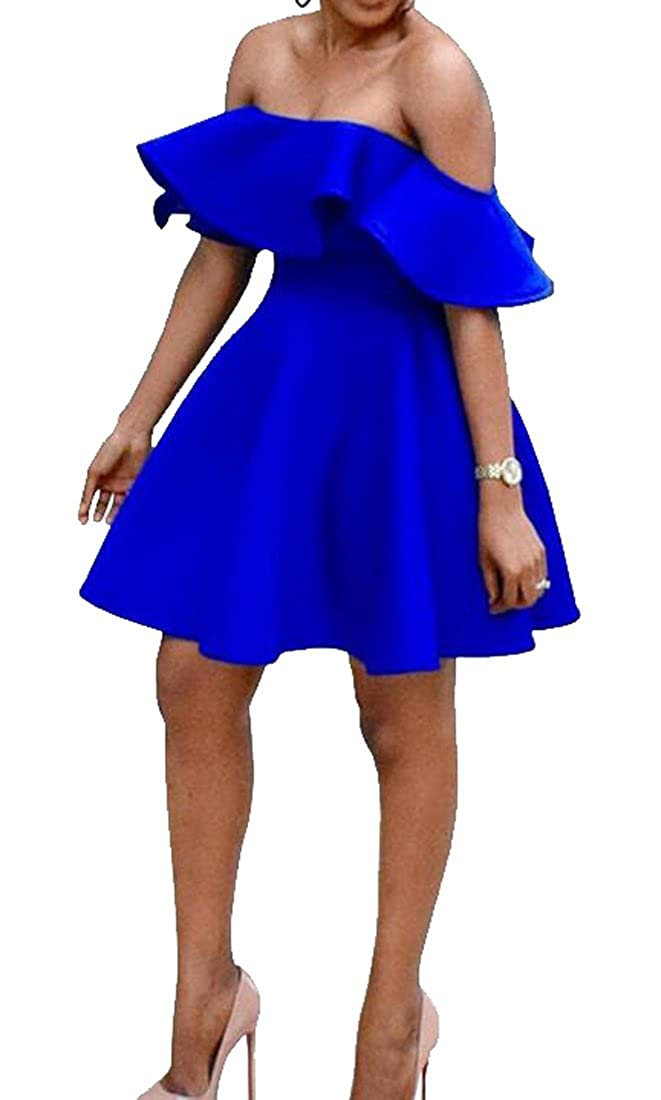 Bravepe Womens Pure Color Off Shoulder Cocktail Ruffle Party Tunic Short-Sleeve Midi Dress