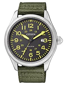 Citizen BM6831-16E - Reloj analógico de cuarzo para hombre, correa de tela color verde (solar)