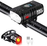 Bligli Bike Lights Set, USB Rechargeable Bike Headlight with Floodlight & Spotlight, 6 Adjustable Modes, W