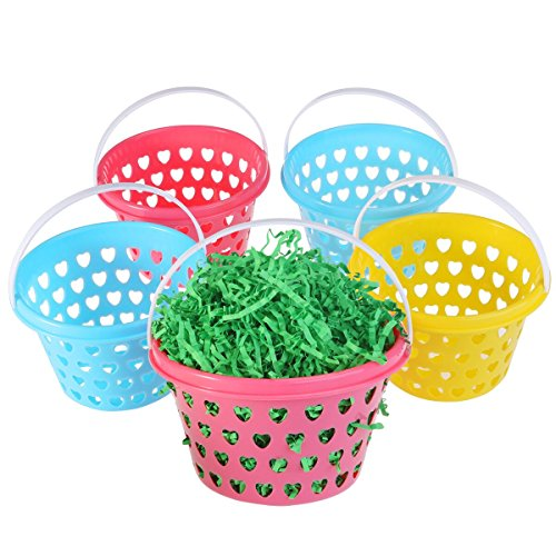 Small Easter Baskets 5pcs with Easter Grass 50g for Kids Easter Eggs Hunting