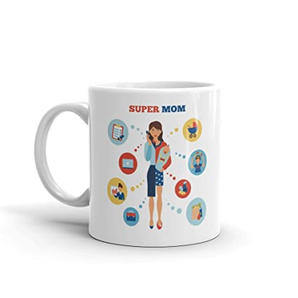 Buy Family Shoping Mothers Day Gift For Mom Birthday Gifts For Mother Super Mom Ceramic Coffee Mugs Tea Cup 320ml Online At Low Prices In India Amazon In