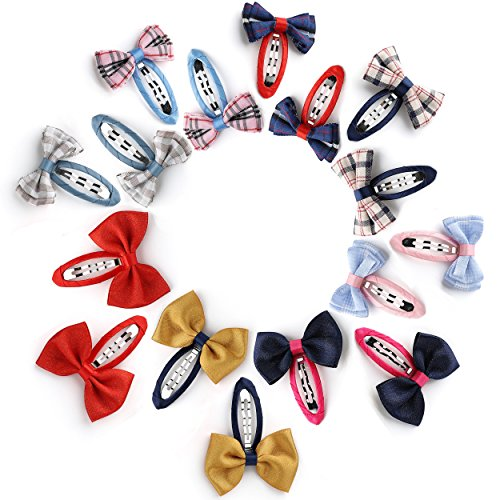 - OneDor Tartan Pattern & Shiny Grosgrain Hair Barrettes Bow Ribbon Clip sets for Babies, Toddlers, Young Girls, and Children - 16 Pcs