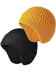 JFAN Women Men Winter Knit Hat Ear Protection Warm Beanie Knit Hat Ear Flaps Helmet Liner for Women Men One Size