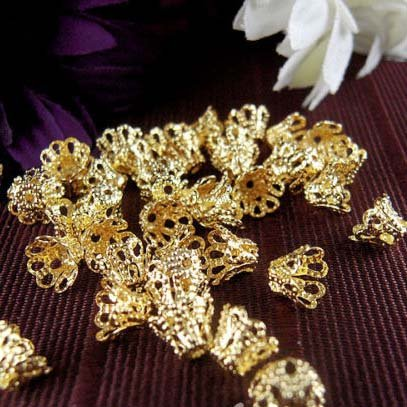 Beading Station 100-Piece Filigree Flower Cup Shaped Bead Caps, 7mm, Gold ()