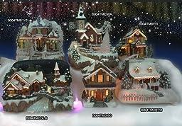 Christmas Snow Village Santa and Reindeer LED Fiber Optic Village