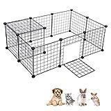 Cheap Greensen DIY Dog Kennel, Foldable Pet Playpen Door Cable Tie Metal Wire Animal Grid Cage Guinea Pig Hedgehog Kitten Puppy Hedgehog Hamster Rabbit, Outdoor Indoor, Black(12 Panels)
