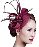 Fascigirl Sinamay Fascinator Hat Feather Party Pillbox Hat Flower Derby Hat for Women