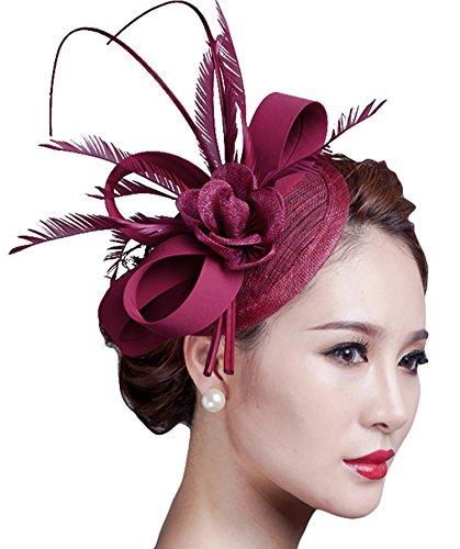 Fascinators Hat, Fascigirl Sinamay Feather Veil Flower Pillbox Hat Hair Clip Kentucky Derby Hat for Women Girls Party ()