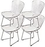 MLF Harry Bertoia Wire Side Chair (Set of 4). Chromed Wire Frame with Plastic Feet & PU Leather Cushion. (White/Cream)