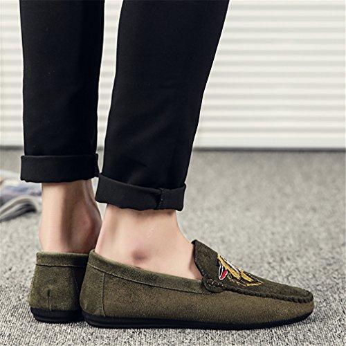 in da Green Scarpe mocassino maschili da pelle uomo Scarpe Flats traspiranti Scarpe da Slip Moda On casual guida scamosciata qEPUxWv