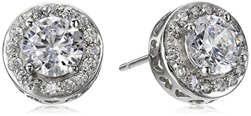 925 Sterling Silver Round AAA Cubic Zirconia with Pave Border Stud Post Earrings (1.7 cttw)