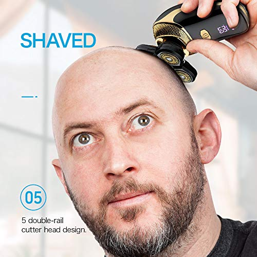 Flowind Electric Razor for Men Bald Head Shavers 5 in 1 Grooming Kit Cordless Rechargeable Beard Trimmer Nose Hair Clippers Shaving Kit Waterproof Rotary Shaver LED Display