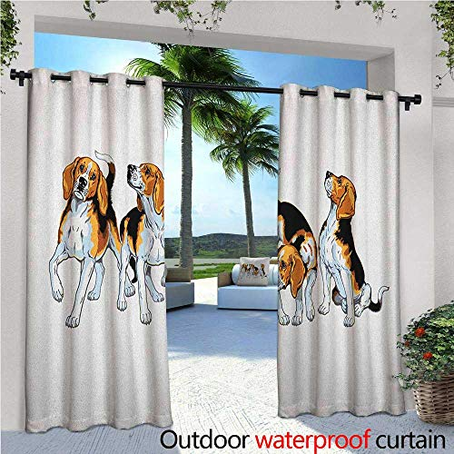 familytaste Beagle Indoor/Outdoor Single Panel Print Window Curtain Four Beagle Hounds Siblings Playing Foxhound I Love My Dog Breed Theme Silver Grommet Top Drape W72 x L96 Brown White and Black