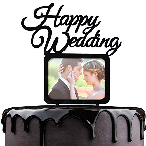 Happy Wedding Cake Topper - Black Acrylic With Photo Frame Diamond Cake Picks Décor - Bridal Shower Couple Engagement Party Supplies - Romantic Insert Cards Pictures Decorations