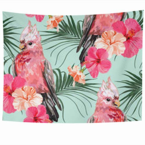 GisRuRu Tapestry Wall Hanging 60 x 50 Inches Hibiscus Floral Summer Pattern Galah Tropical Parrots Upholstery Exotic Birds Palm Trees Leaves Tapestries Home Decor Art for Bedroom Living Room Dorm (Springs Palm Upholstery)