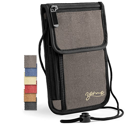 Passport Holder- by YOMO. RFID Safe. The Classic Neck Travel Wallet. (Grey-Deluxe) by YOMO