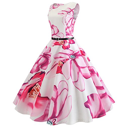 Women Prom Dresses, LIM&Shop Ladies ❤️ Bodycon Music Print Midi Dress Sleeveless Vintage Pleated Mini Dress with Belt Hot Pink