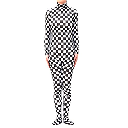 Muka Adult Zentai Unitard Bodysuit Halloween Costume Catsuit, CHECKERBOARD