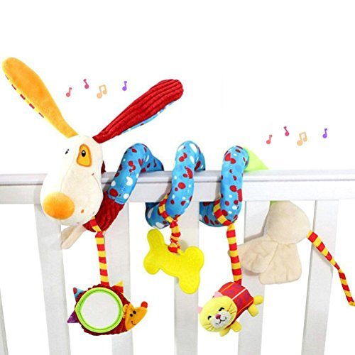 YeahiBaby Baby Infant Puppy Dog Wrap Around Crib Rail Hanging Toy Cute Baby Educational Plush Stroller Toys