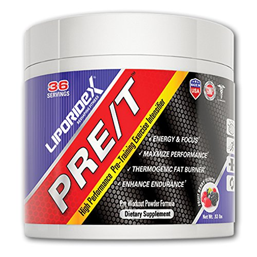 Liporidex PRE/T Pre Workout Supplement Powder. Build Muscle, Increase Performance and Energy. Beet Root and Agmatine for Extended Nitric Oxide Release. Fruit Berry Punch Flavor - 36 Servings