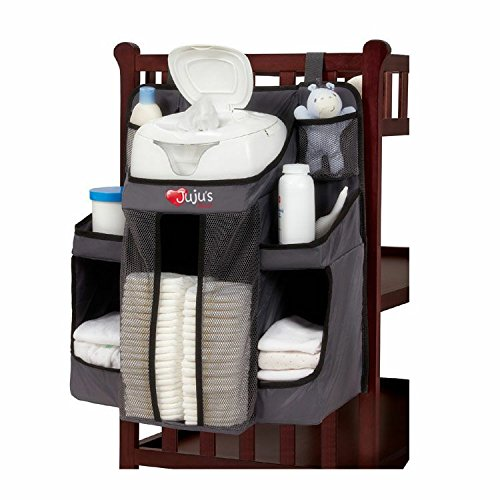 Hanging Diaper Organizer Storage for Baby Essentials,Grey and Black, Hang on Crib, Changing Table or Wall