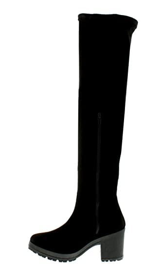 NEU Damen / Damen Überknie Stretch Socke Stil Stiefel mit grob gestrickt C - schwarz - UK Größen 3-8 - Schwarz, 40.5