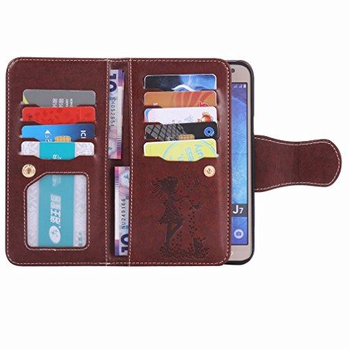 Cuero Pu Cover Piel Estuches Yiizy Samsung Chica Funda Para Cáscara J7 Repujado Diseño J700 Protector marrón Billetera Estilo Tarjetas Ranura Galaxy Carcasa qP4qwxnB7