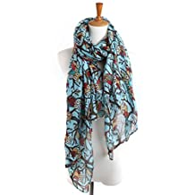 Apparelsales Women Voile Long Scarf Owl Print Shawl Wraps ColorL