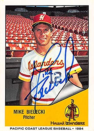 Mike Bielecki Autographed Baseball Card Minor League Hawaii