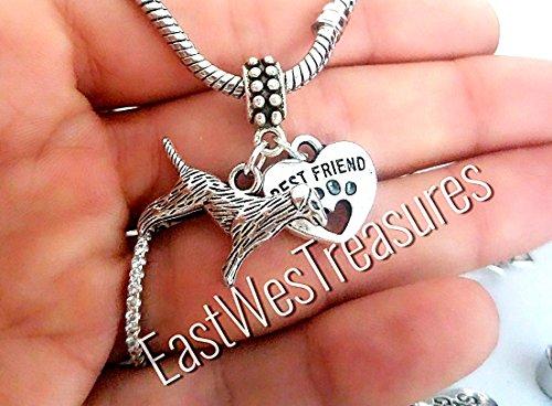 EWT Love Heart Lab Labrador Golden retriever dog Paw print Charm Pendant for Pandora bracelets and any chain necklace